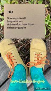 Dikt om håp illustrert med grønne sko