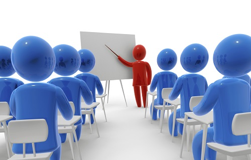 Classroom with red and blue 3d icons