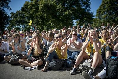 En samling av studenter ved studiestart 2019, St.Hanshaugen