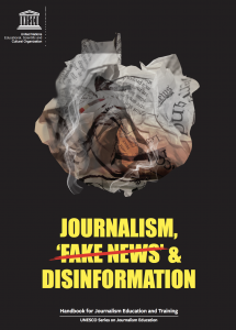 front page of journalism, fake news and disinformation. picture of a  curled up newspaper and the word Fake news whit a red line over it.