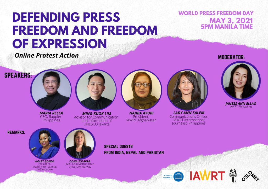 poster of online Protest action witch Maria Ressa, Ming-kuok lim, Najiba Ayubi and Lady Ann Samel as speakers