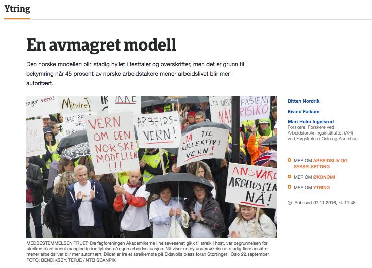 Skjermdump / faksimile av forskernes innlegg på NRK Ytring, med en protestaksjon for å bevare den norske modellen som illustrasjonsbilde.