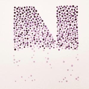 Motiv utført i pointillisme, bokstaven N.