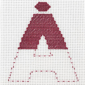 Motiv brodert med korssting, bokstaven Å.