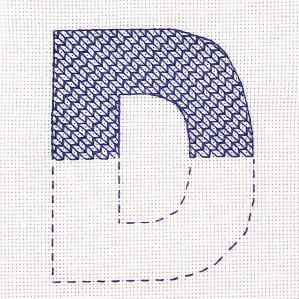 Motiv brodert med attersting i Sashiko-mønster, bokstaven D.