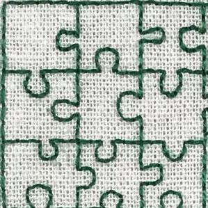 Nærbilde av attersting i puslespillmønster fra bokstaven R.