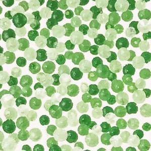 Nærbilde av pointillismemotiv i grønne valører, bokstaven K.