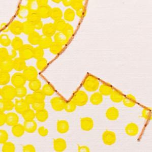 Nærbilde av pointillismemotiv i gult og kontur med attersting, tegnet &.