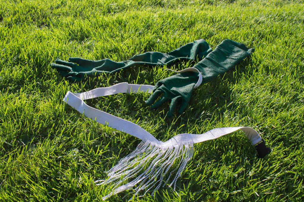 Grønne hansker og et glitrende belte ligger på gresset.