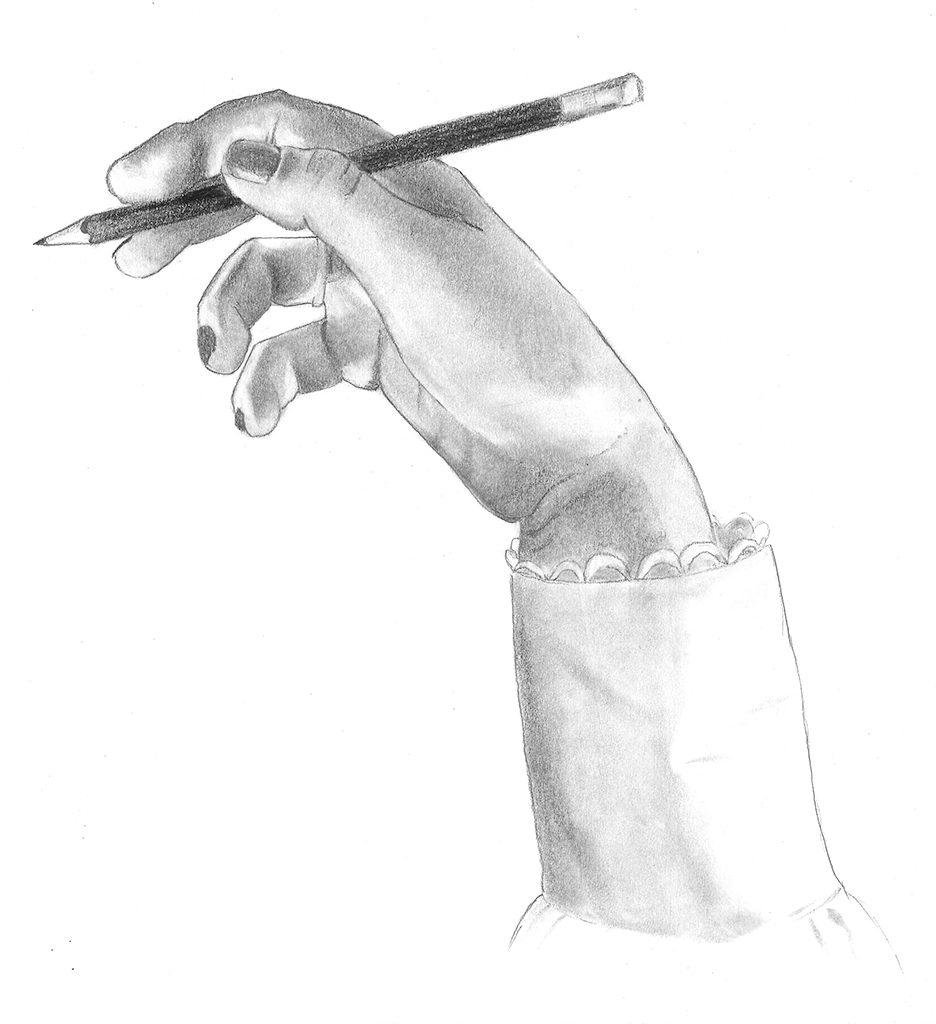 Detaljrik tegning av en hånd som holder en blyant med løst grep. Observasjonstegning.