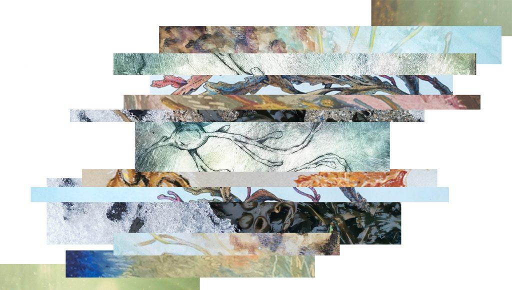 Collage av utklipp fra fotografi og arbeider innen grafikk, pastell og akvarell