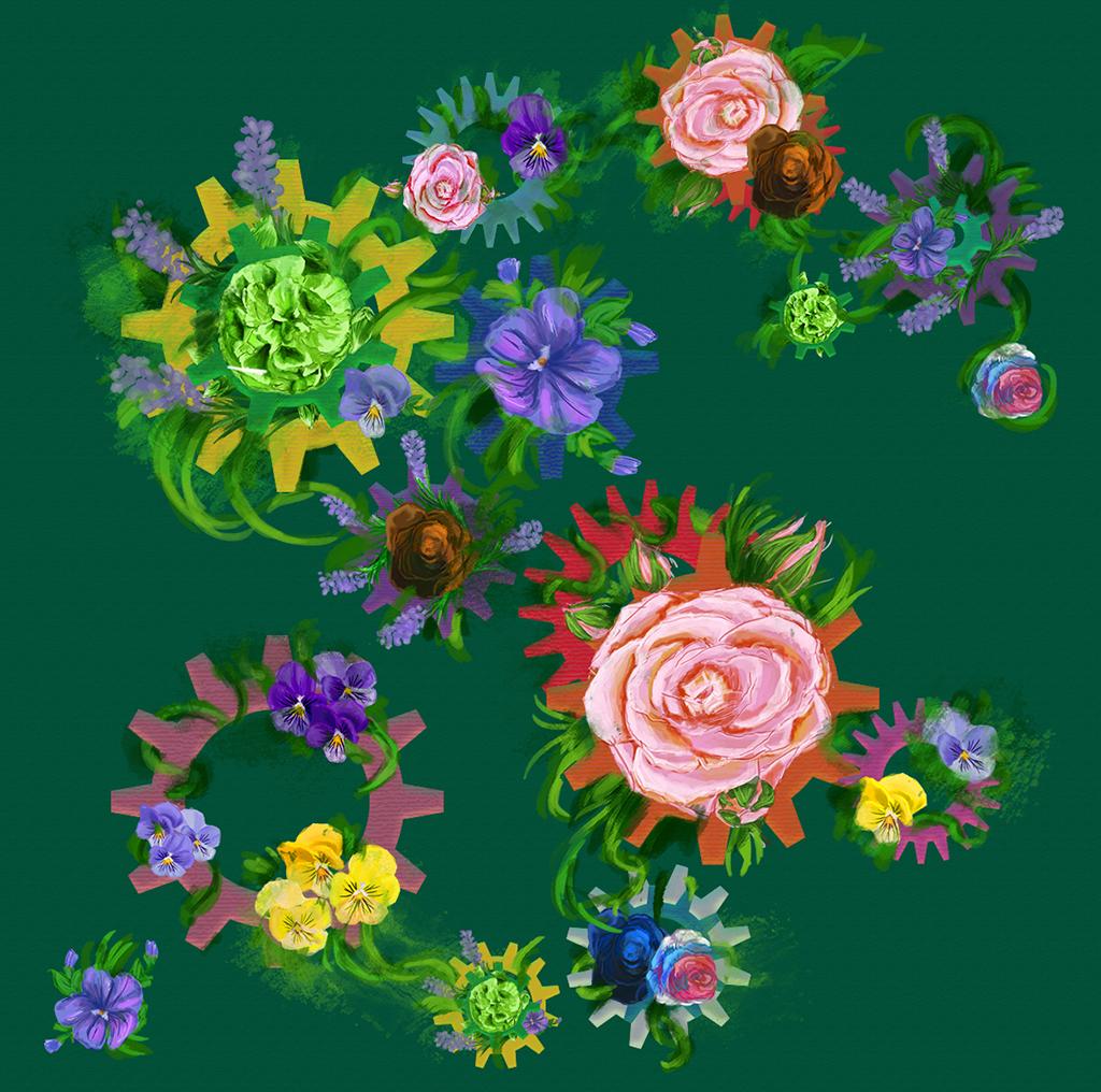 Blomstrete print med tannhjul og diverse blomster. På grønn bakgrunn.