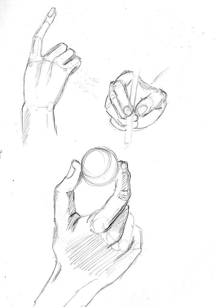 Tre skisserte observasjonstegninger av hender i diverse posisjoner.