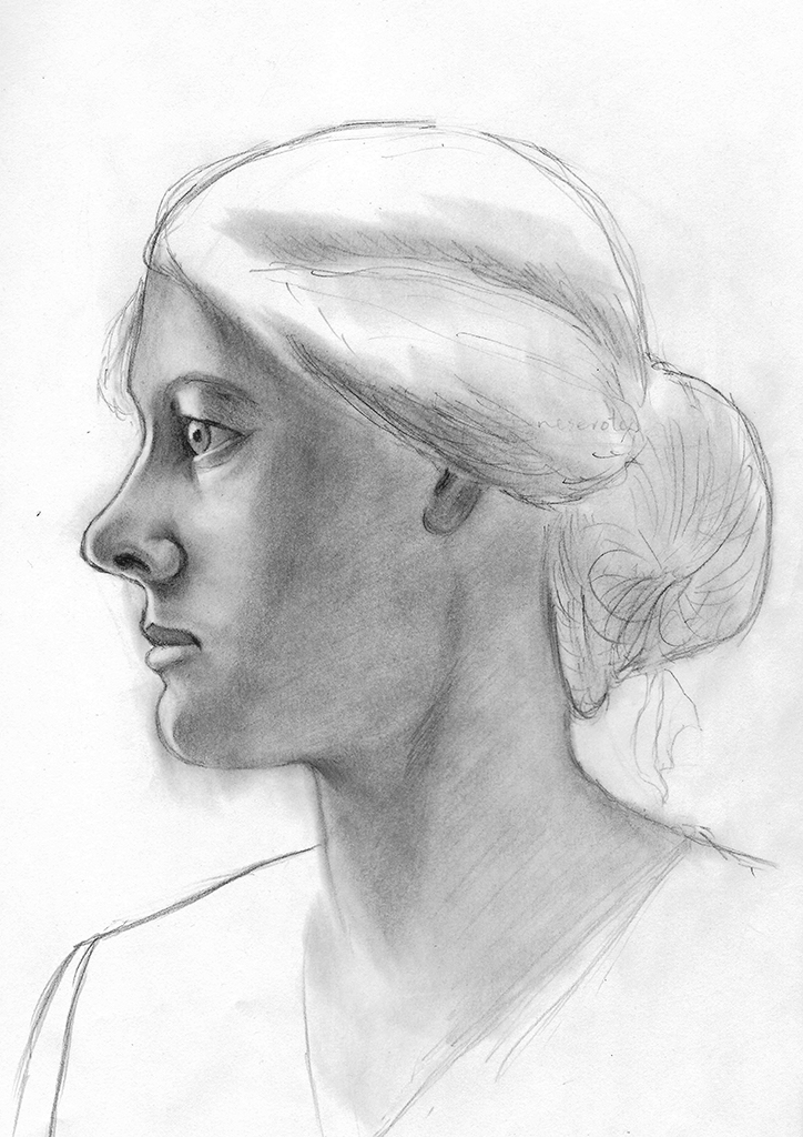 Portrett av en kvinne, fra siden. Etter Teigen, T. (2015). Frihåndstegning. Oslo: Gyldendal Akademisk.