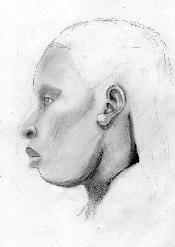 Portrett av en kvinne, fra siden. Etter Riclin, L. (2008). Lifelike Heads. Walter Foster Publishing.