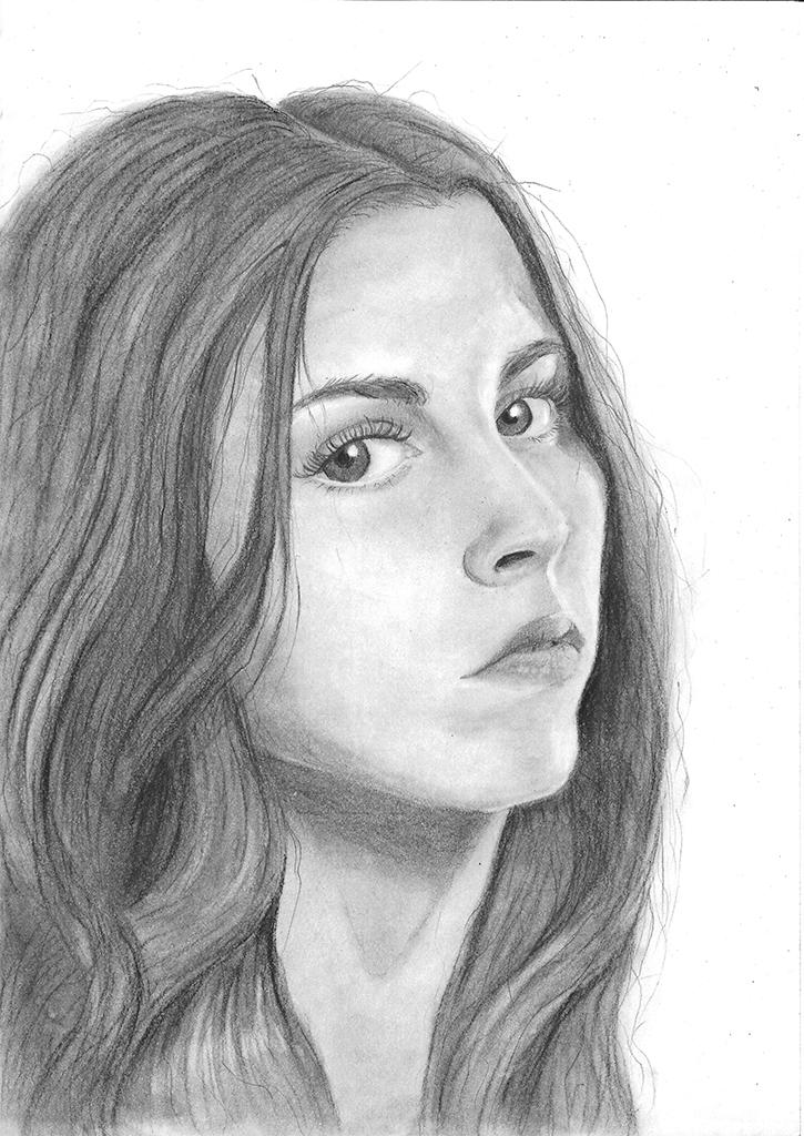 Portrett av en kvinne, i tre fjerdedels vinkel. Etter Edwards, B. (2012). Drawing on the Right Side of the Brain. New York: TarcherPerigee.