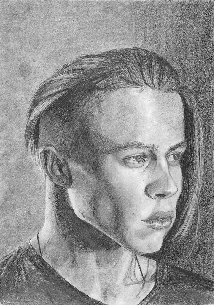 Porttrett av en ung man, i en tre fjerdedels vinkel. Etter Bourget, H. P. (2019). The foundations of the portrait. The Art of Painting
