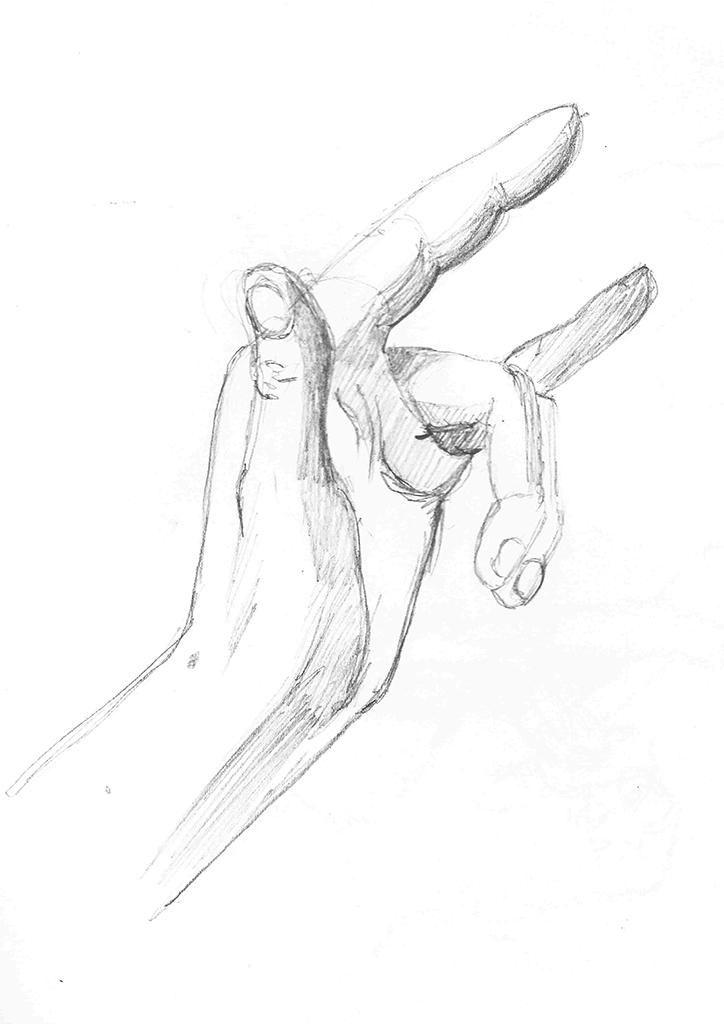 En observasjonstegning av en hånd , i djevelens tegn.