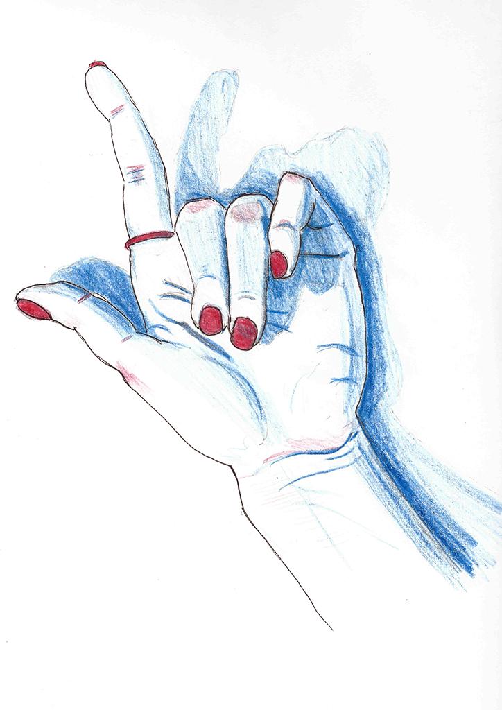 En observasjonstegning av en hånd, i blått og rødt