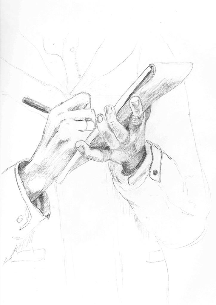En forestillingstegning av hender som skriver på en blokk.