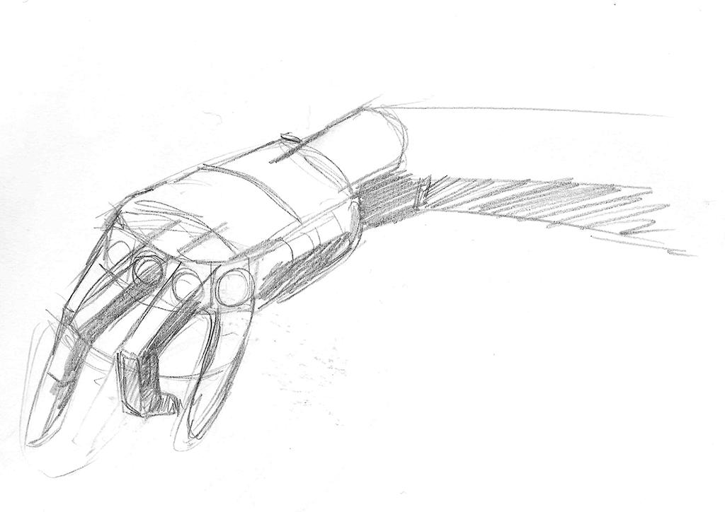 Skisse, forestillingstenging av en hånd