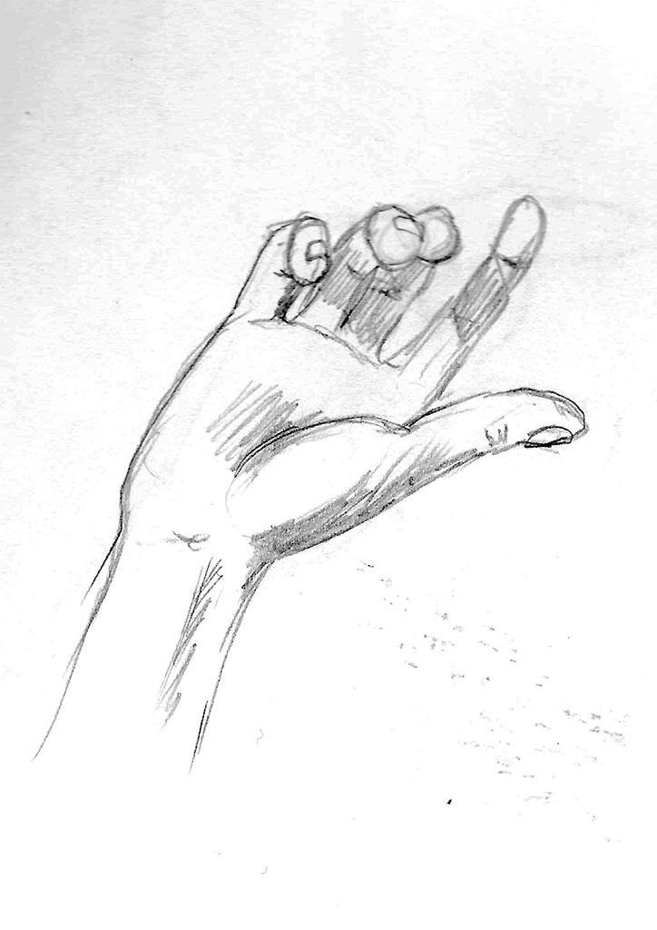 En skissert forestillingstenging av en hånd.