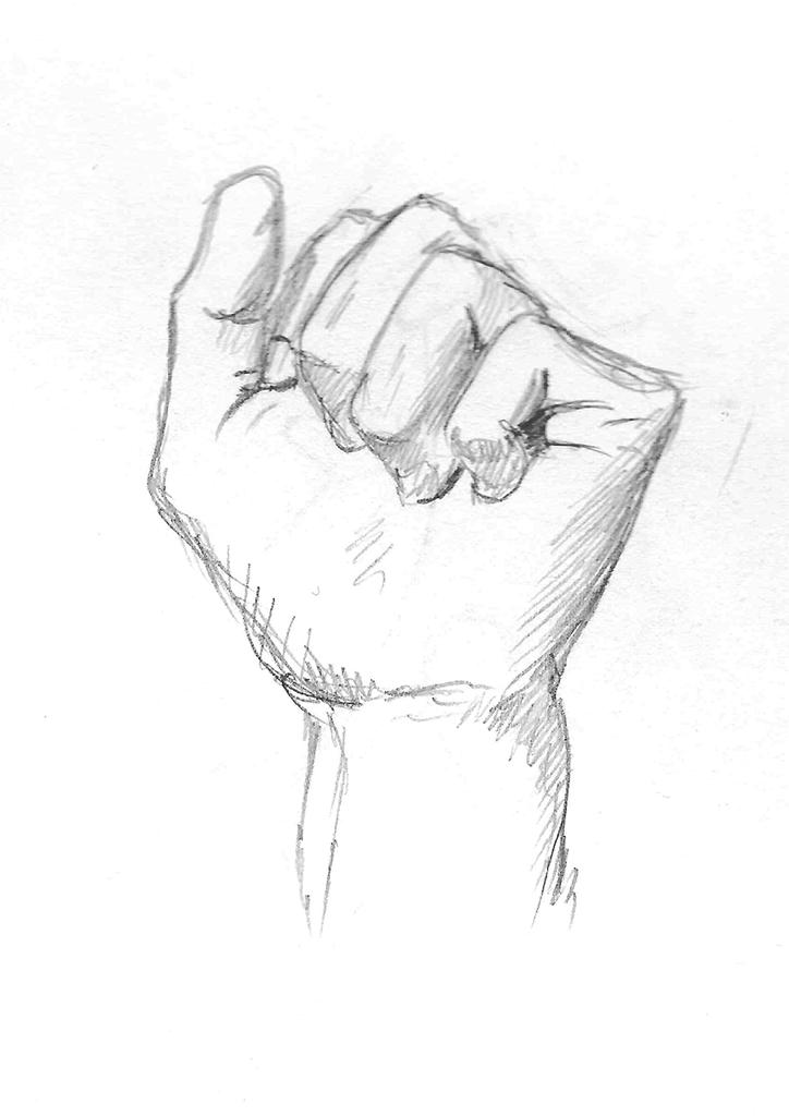 En observasjonstegning av en lukket hånd