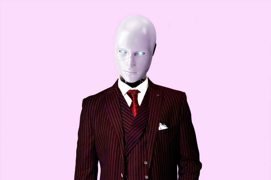 Scary-looking android in a suit, looking at the camera