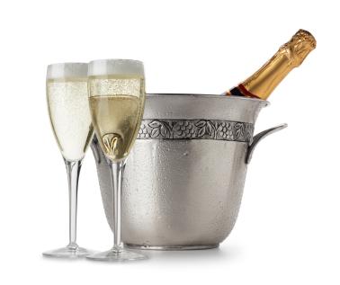 Bildet viser en champagne flaske til avkjøling med 2 champagne glass