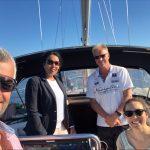 Bildet viser prosjektgruppa samlet på båttur, 24.06.2021: Kamran Bagheri, Fatima Ali Madar, Roar Engen og Carina Mørch-Storstein