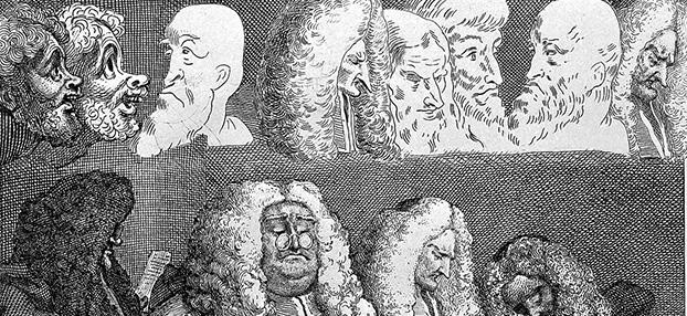 """Radering av ansikter og gamle engelske dommere med parykk.Hogarth; """"Court of Common Pleas"""", 1758. Foto: Wiki Commons."""