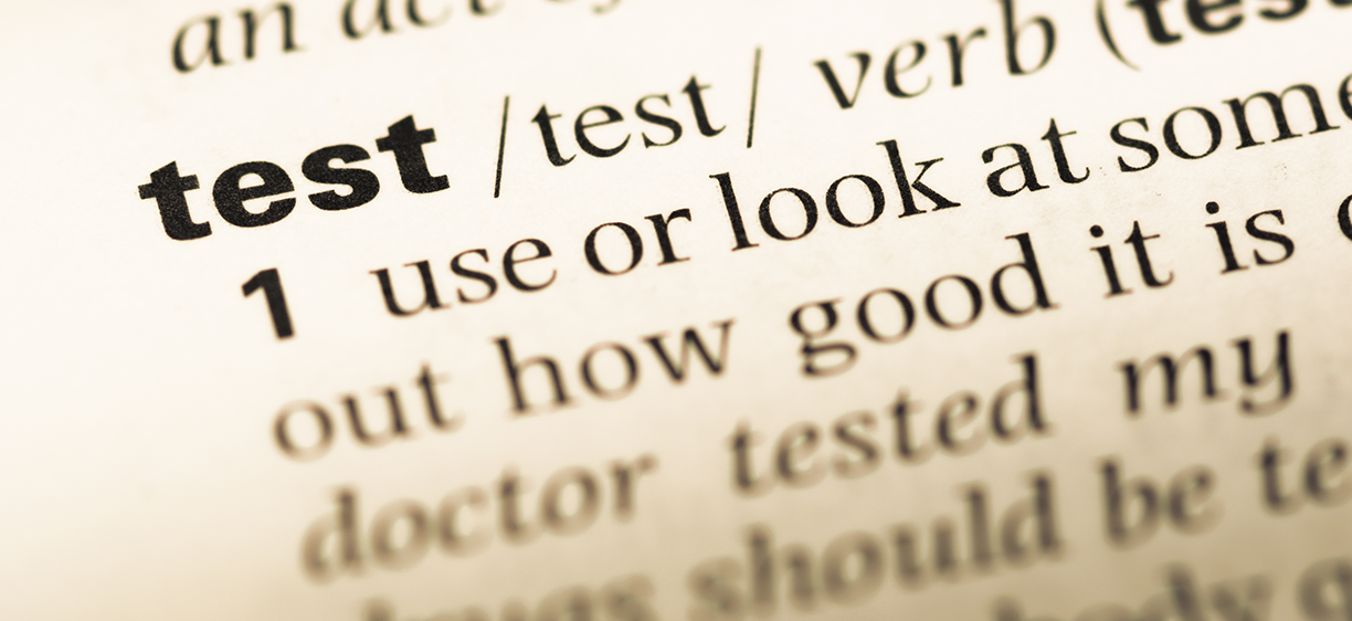 The word test in a dictionary. Photo: colourbox.com