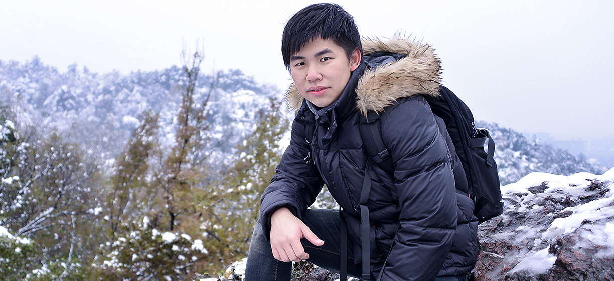 Illustration photo of a filipino male outdoors in snow landscape.