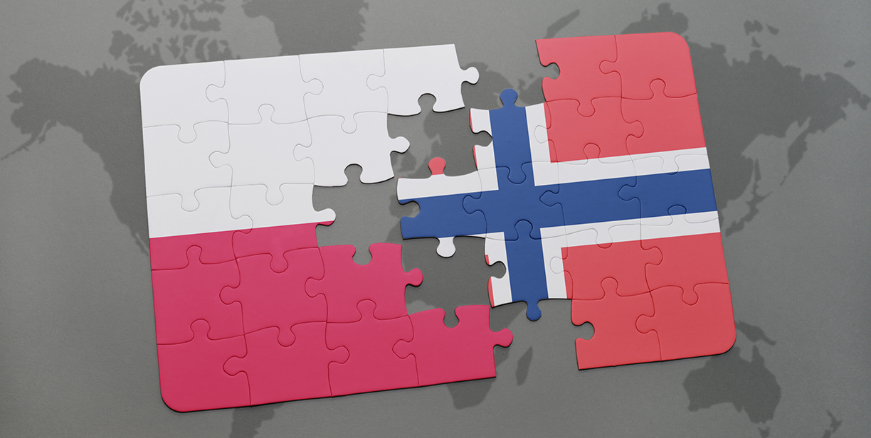 puzzle with the national flag of poland and norway on a world map