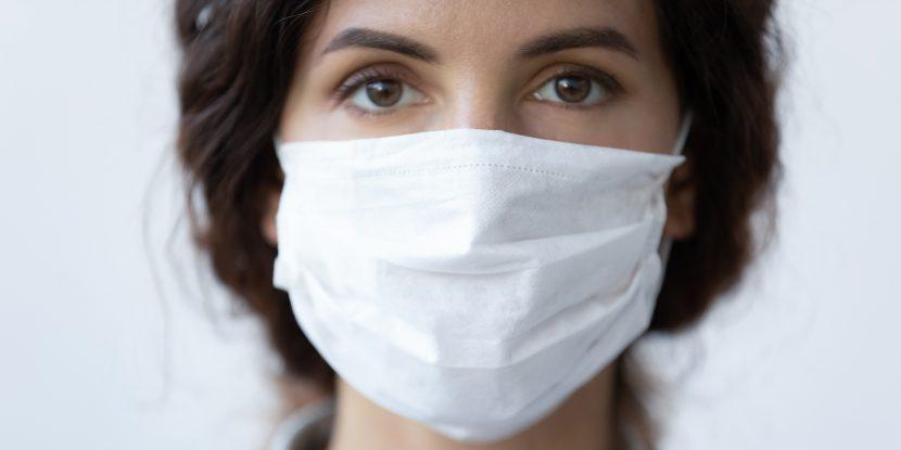 Close up portrait of woman wear face mask